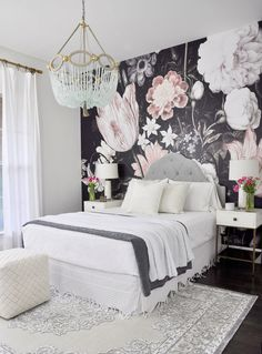 Bedroom with beautiful beaded chandelier