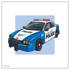 police car art for kids art for boys room personalized print for the nursery