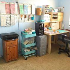 Scraproom: My studio - peg board and desk Ink Pad Storage, Storage Boxes, Storage Ideas, Storage Hacks, Craft Room Storage, Craft Organization, Home School Organization, Home School Room Ideas, Studio Apartment Organization