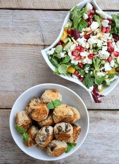 Bønneboller med crunch - lindastuhaug Crunches, Cobb Salad, Potato Salad, Plant Based, Chicken, Dinner, Ethnic Recipes, Food, Dining