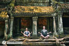 Fun couples photo session in Ta Prohm, Angkor Wat, Cambodia.