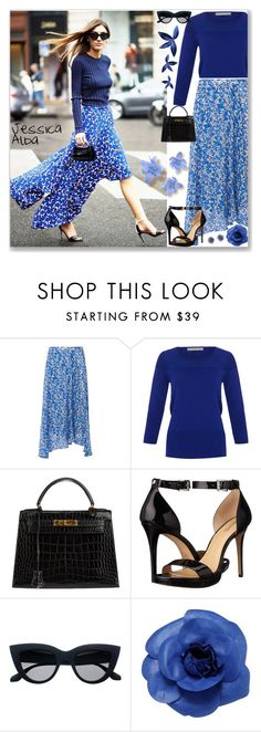 """Cool Blue - get the look of Jessica Alba !"" by firstclass1 ❤ liked on Polyvore featuring L.K.Bennett, Hermès, MICHAEL Michael Kors, Chanel and Accessorize"