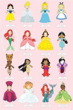 Snow White, Cinderella, Sleeping Beauty, Alice, Ariel, Ariel, Belle, Jasmine, ?, Pocahontas, ?, Mulan, ?, Merida, ?, Tianna