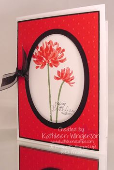 """Stampin' Up! Too Kind and Petite Pairs stamp sets; Whisper White, Basic Black, and Real Red card stock; Real Red, Garden Green and Jet Black StazOn ink pads; Big Shot Ovals Collection framelits dies and Perfect Polka Dots embossing folders; Stamp-a-ma-jig and Whisper White 5/8"""" Organza ribbon.  I dyed the organza ribbon by dragging a sponge dauber that was inked with Jet Black StazOn ink over the ribbon until I achieved an even black color."""