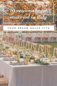 Do you want to live the Dolce Vita dream in Italy? Find here the 10 Reasons why you should get married in Italy #wedding #mariage #italy #weddingdecors #italie #reception #dolcevitta #dream #nature #original #celebration #weddingfood #weddingreception #weddinguests #honeymoon #sunnywedding #italywedding #theplacetobe #trulli #palazzo #elegance #olivetree #green #tablesdecoration #rustic #gastronomy #landscapes #cityoflove Getting Married In Italy, Got Married, Reasons To Get Married, Places In Italy, Wedding Places, Italy Wedding, Live For Yourself, Dreaming Of You, Reception