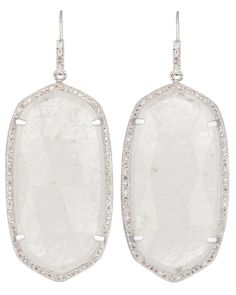 Kendra Scott Large Pave Oval Earrings in Rock Crystal