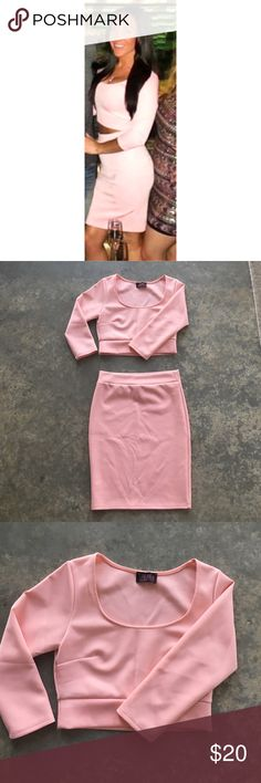 HMS pink two piece set! sz Small Hot Miami Styles Pink super cute two piece set. Size Small. Worn once! 💕 (will sell pieces individually as well) Hot Miami Styles Dresses Mini