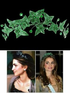 "The Boucheron Emerald Ivy tiara worn by Queen Rania of Jordan. ""AL"""