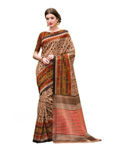 Charming Beige Silk Printed Saree Description: Look like a diva as you step out in the Charming Beige Silk Printed Saree which is a class apart. A bright multi-color blouse makes a perfect pair with the printed beige saree. A pair of heels and ethnic jewelry adds to the elegance.  Details: Printed Work  Sizes Available: Saree Length- 5.5 meter Blouse Piece  Size upto 42 inches Blouse Piece Length- 0.80 meter  Colour and Fabric: Saree- Beige, Blouse- Multi Color  and  Saree- Silk,
