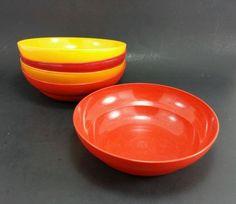 5-Used-RARE-Vintage-Tupperware-Cereal-Bowls-6-maroon-orange-yellow-brown-1980s