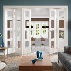 Freefold White Shaker 4 Pane Style Folding 5 Door Set with Clear Glass Height 2 Room Doors, Furniture Design, Home, Folding French Doors, Interior Barn Doors, French Doors Interior, Interior, House, Room Divider Doors