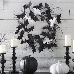 22 in. Halloween Glitter Bats and Ghosts Wreath - Wreaths & Garland at Hayneedle