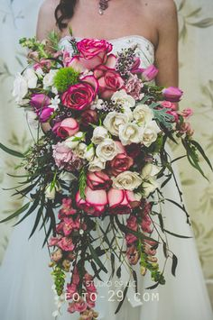 grande Hot Pink Roses, White Roses, Red Purple, Pink And Green, Cascade Bouquet, Dusty Miller, Love Flowers, Tulips, Floral Design