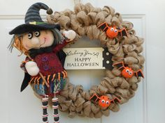 Halloween wreath Witch wreath Halloween by ChloesCraftCloset