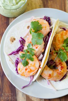 """""""Thai Sweet Chile Shrimp Tacos with Jicama Slaw and Avocado Cream"""" 