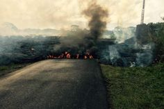 Volacano lava flow in Hawaii, October 26, 2014