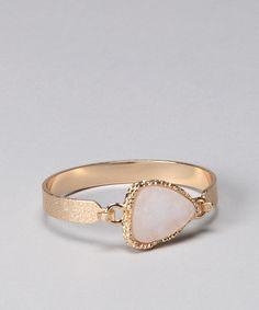 White Triangle Stone Druzy Bracelet