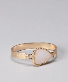 Take a look at this White Triangle Stone Druzy Bracelet by Dare to Dazzle: Women's Gems on #zulily today!