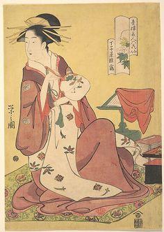 The Courtesan Hinazuru of the Teahouse Chojiya (House of the Clove)  Chôbunsai Eishi  (Japanese, 1756–1829)  Period: Edo period (1615–1868) Date: ca. 1795 Culture: Japan Medium: Polychrome woodblock print; ink and color on paper
