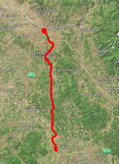 This is how far they would have to go to get from Siena to Firenze..how do they do it in like, three days in the book with HORSES??<<<<<<Hmmm....