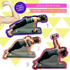 Bow & Arrow Plank Hold a light dumbbell in your right hand. Get into plank… Good Arm Workouts, Arm Toning Exercises, Easy Workouts, Fitness Tips, Fitness Motivation, Health Fitness, Fitness Workouts, Sweat It Out, I Work Out