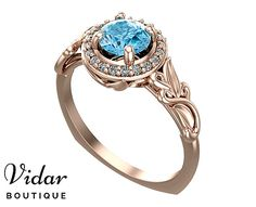 Flower Engagement Ring Unique Engagement Ring Rose Gold Aquamarine Ring By Vidar Botique Leaves Engagement Ring Halo Engagement Ring Bridal by VidarBoutique on Etsy