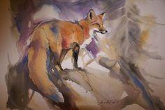 Amy Poor's Fox in the Haze. Love her watercolors.