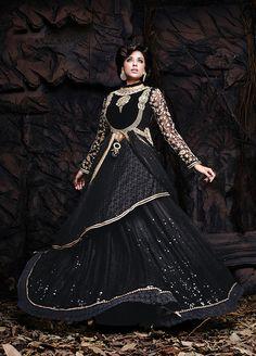 Black Color Net based Lehngha Choli - JustKartIt