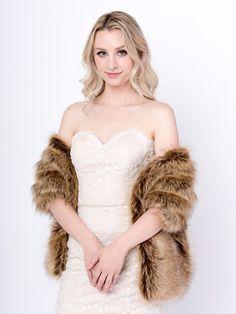 Pre-Christmas Sale Bridal Ivory Faux fur Wrap extra Thickness wedding shawl 309F-IVY faux fur shrug