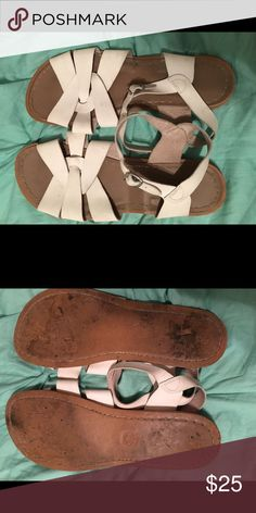 White Saltwater Sandals Worn, but good condition. still have a lot of life left! •make me an offer• Salt Water Sandals by Hoy Shoes Sandals