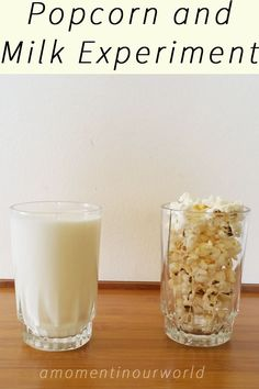 In the third chapter Farmer Boy, we read about Almanzo thinking about milk and popcorn together and how they don't overflow. Of course, we had to try this!