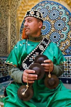 Carcabae player (iron castanets), Tangier, Morocco. www.facebook.com/Welcome.Morocco