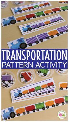 transportation theme preschool math lesson plans
