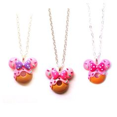 Handmade Polymer Clay Minnie Mouse Donut Necklace - 3 variations  on Etsy, $8.00