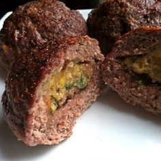Ripped Recipes - Garlic Plantain, Tomato & Spinach Stuffed Meatballs - Add a sweet yet savory filling to your meatballs!