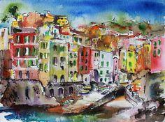Original Painting | Riomaggiore Harbor | Cinque Terre | Italy Travel Memories #art #watercolors #travel #travelart #italy