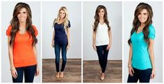 Everyday Basic V Neck Tee!-cute cuff detail on short sleeves