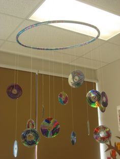 recycled cd mobile in my classroom