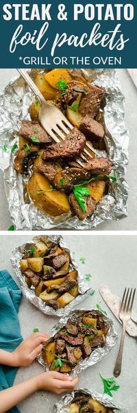 Steak and Potatoes Foil Packets are full of flavor with mushrooms, garlic, butter, herbs and perfect for barbecue season or a busy weeknight. Best of all, the steak. Steak Foil Packets, Foil Packet Potatoes, Foil Packet Dinners, Foil Pack Meals, Tin Foil Dinners, Steak Dinner Recipes, Steak Recipes, Grilling Recipes, Cooking Recipes