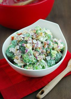 Quick & Easy Broccoli Salad - perfect combination of nuts, onions, bacon and special mayo dressing.