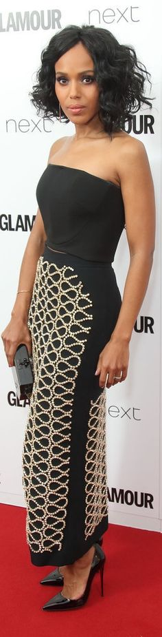 Kerry Washington opted for a David Koma tube top and embroidered front-slit skirt on the red carpet. She completed her look with EFFY rose gold diamond earrings and an EF Collection bangle.