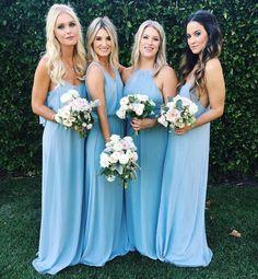 Bright light blue bridesmaid dresses