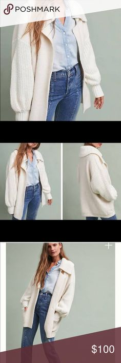 Anthropologie Sleeping on Snow Collared cardigan Anthropologie Sleeping on Snow Collared cardigan. Ivory color. Size medium but can easily fit Large. Oversized fit. Anthropologie Sweaters