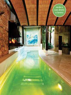green swimming pool + fireplace #pool #fireplace #decor