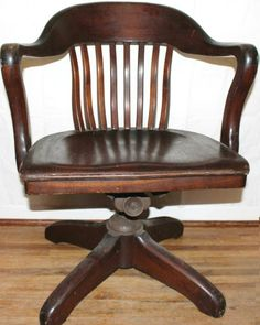 Antique 1920 1930s Swivel Office Chair Bankers Chair