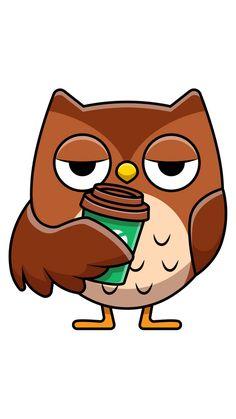 Cute Wild Animals, Funny Animals, Owl Coffee, Little Puppies, Concrete Jungle, Cute Owl, Sleep, Stickers, Bird