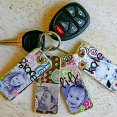 Homemade keychains: take some old credit cards or gift cards and cut into thirds (thick) or fourths( if you want it real skinny). Next use any type of colored paper or scrapbook decorations to add pictures, names, designs, etc.
