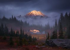 Volcanic Autumn - Washington's 14,411-foot Mount Rainier, seen from high above Tipsoo Lake during a foggy autumn sunrise. Yet another image that's been sitting on my hard drive for 8 or 9 months! I wanted a composition that showcased the fall foliage here, and that displayed Rainier's dominance of the surrounding landscape in context. I've always thought Rainier looked like a raisin in the typical ultra-wide reflection shots from the lake shore below, but she's a behemoth! Hopefully this…