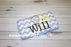 Gray Chevron with Cute Elephant Applique by MsSewItAll32 on Etsy