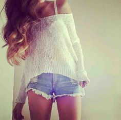 Lovley Off Shoulder Knit Top. Teen Fashion. I would wear this for going to the beach